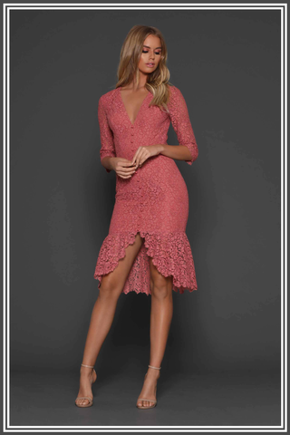Elle Zeitoune Adele Midi Dress Rose