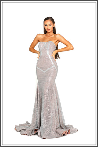 Portia and Scarlett Anaha Gown in Silver