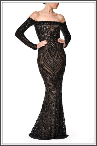 Embellished Sequin Arabella Black Dress by Nadine Marabi