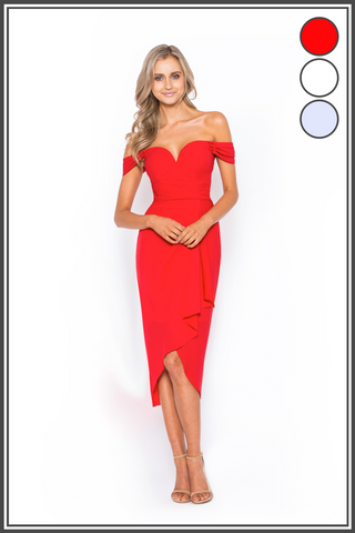 2a9b0f9e338e Rory Off Shoulder Bariano Draped Midi Dress