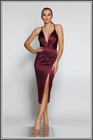 Bella Midi Dress in Berry by Jadore
