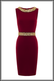 Cavendish Embellished Dress - Dark Red Neoprene