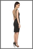 Chelsea Backless Dress - Black with Gold Sequins