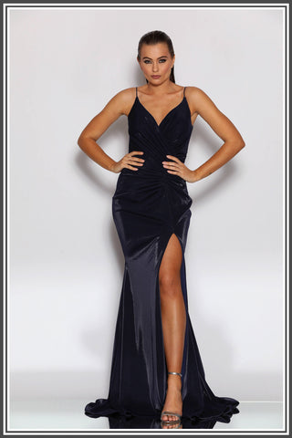 Jadore Carmen Gown in Navy