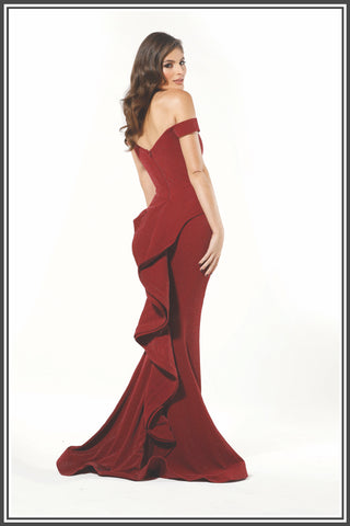 Celeste Gown Burgundy with Silver Sparkle