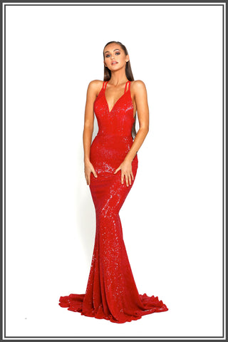 Portia and Scarlett Chicago Gown in Red Sequin