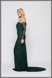 Bariano Dahlia Lace Gown - Forest Green