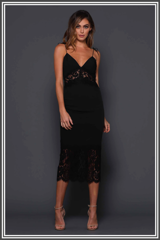 Donna Midi Dress in Black by Elle Zeitoune