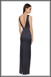 Estelle Embellished Halter-neck Gown - Navy