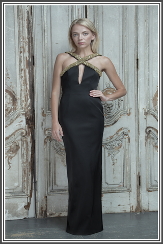 Aloura London - Estelle Black Embellished Halter-neck Gown