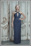 Aloura London - Estelle Navy Embellished Halter-neck Gown