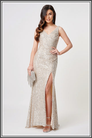 Forever Unique Fontanne Dress in Silver Sequin