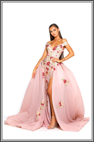 Portia and Scarlett Floral Gown with Overlay Skirt