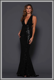 Elle Zeitoune Garrett Gown Maxi Dress in Black Sequin