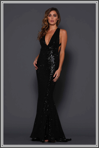 Garrett Gown - Black Sequin