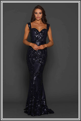Harris Sequin Gown - Midnight Navy