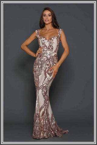 Harris Sequin Gown - Rose Gold