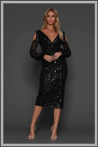 Imelda Midi Dress Elle Zeitoune Black Sequin