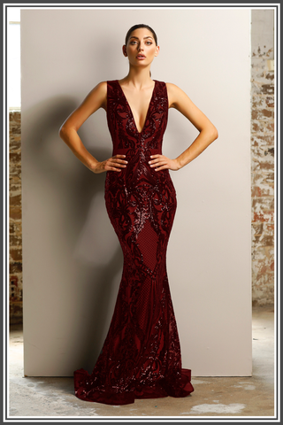 Jadore Paris Gown in Wine