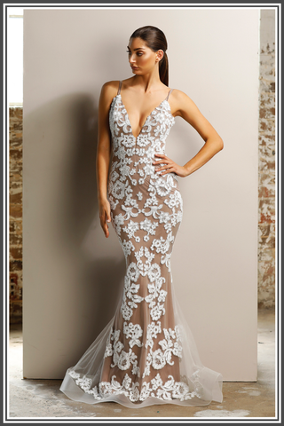 Rihanna Gown - White / Nude