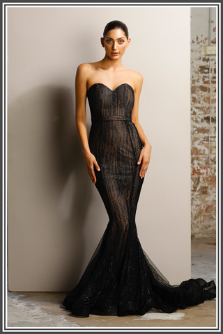 Vogue Gown - Black / Nude