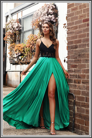 Jadore Meghan Dress in Black / Green