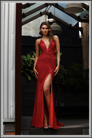 Jadore Bella-Sparkle Dress in Red
