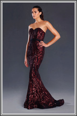 Jadore Jasper Sweetheart Gown in Wine