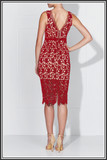 Karla Lace Dress - Scarlet / Nude