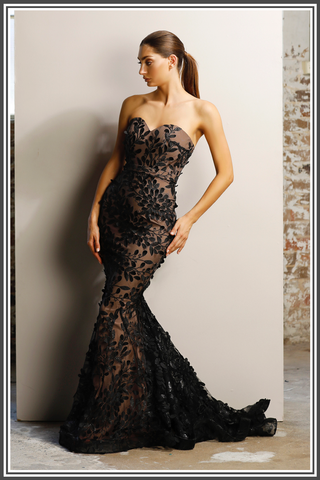 Jadore Keeva Gown in Black / Nude