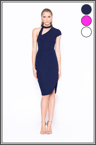 """Just As You Are"" Asymmetric Midi Dress - Navy, Bright Purple & White"