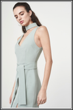 Keyhole Tie Belt Double Split Midi Dress - Sage Green