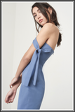 Tie Sleeve Bandeau Midi Dress - Dusty Blue