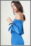 Tie Cuff Bardot Midi Dress - Cereulean Blue