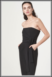 Bandeau Wrap Tie Belt Jumpsuit - Black