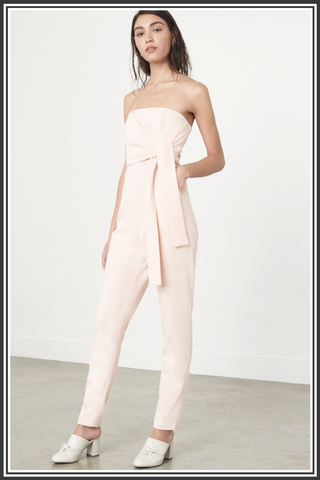 Bandeau Wrap Tie Belt Jumpsuit - Soft Pink