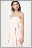 Bandeau Wrap Tie Belt Jumpsuit in Soft Pink by Lavish Alice