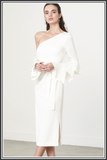 Ruffle Sleeve Asymmetric Dress in White - White