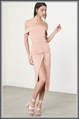 Knot-Front Bardot Midi Dress - Nude