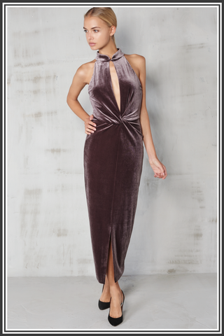 Velvet High Neck Dress - Grey