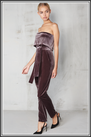 c5afc88d204 Lavish Alice Jumpsuit Grey  Lavish Alice Bandeau Cropped Tie Front Velvet  Jumpsuit - Grey ...