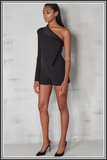 Lavish Alice<br>Asymmetric Cold Shoulder Playsuit - Black