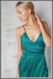 Satin Wrap Long Dress - Teal Green