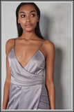 Satin Wrap Long Dress - Silver