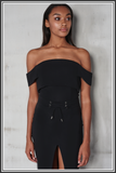 Off the Shoulder Corset Dress - Black