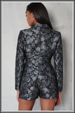 Brocade Longline Fitted Blazer - Black / Silver