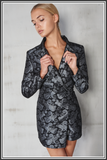 Brocade Tuxedo Style Playsuit - Black / Silver