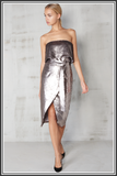 Sequin Bandeau Cropped Dress - Silver