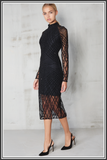 Cross Hatch Velvet and Sequin Dress - Black