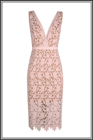 Karla Lace Dress - Dusty Pink / Nude